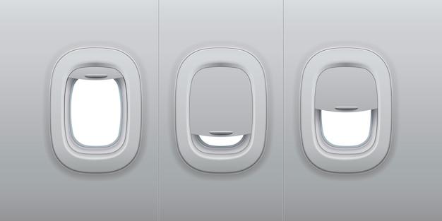 Ventanas de aviones. ojos de buey interiores de avión, ventana interior de avión y ojo de buey de vidrio de fuselaje ilustración 3d