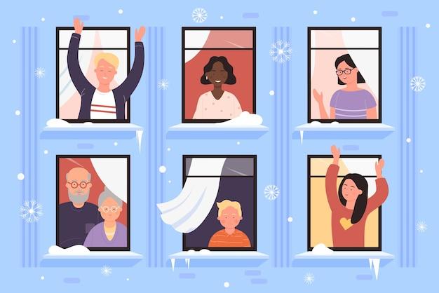 Ventanas de la casa de navidad con ilustración de personas