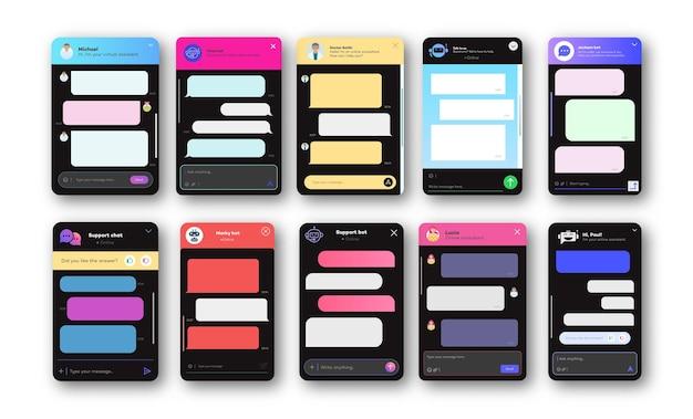Ventanas de chat en línea configuradas para sitios web y aplicaciones móviles aisladas sobre fondo blanco. charla de comunicación social. aplicación de mensajería de texto grupal. eps vectoriales 10