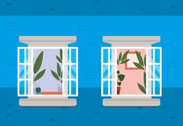 Ventanas desde el exterior con vista al diseño vectorial de la casa azul