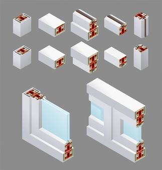Ventanas isométricas de pvc y elementos de marco
