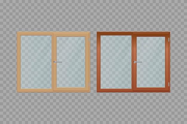 Ventanas de madera conjunto ilustración aislada sobre fondo transparente