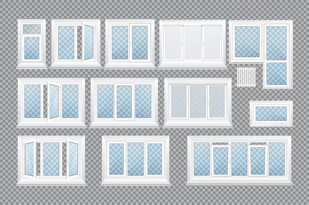 Ventanas de plástico transparente de vidrio realista con alféizares
