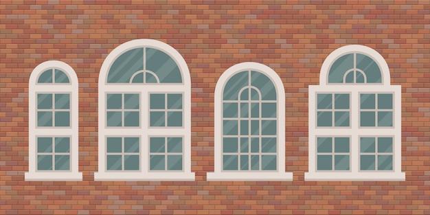 Ventanas retro en la ilustración de la pared de ladrillo