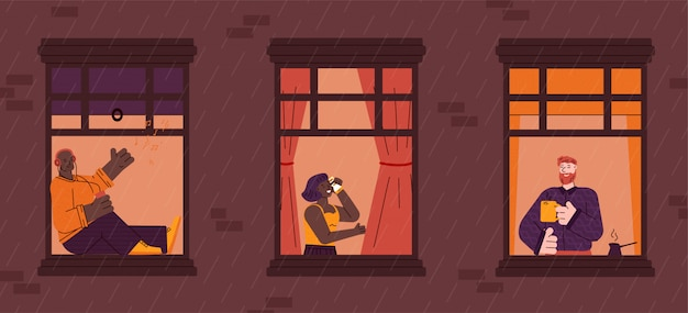 Ventanas con vecinos vida cotidiana en apartamentos, ilustración de dibujos animados.