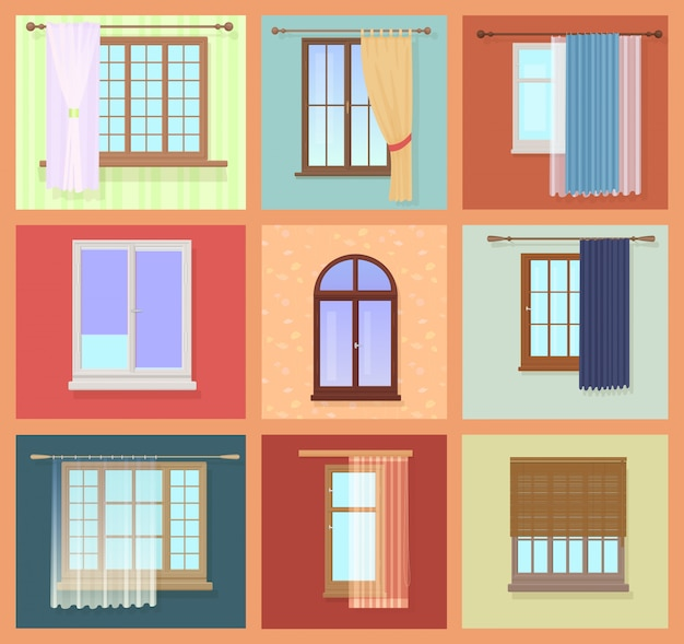 Ventanas vintage con cortinas
