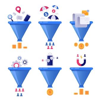 Ventas de generación de embudos. generación líder de negocios, embudos de clasificación de correo y conjunto de optimización de venta de tuberías