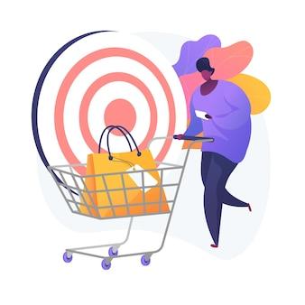 Ventas objetivo. precisión de atracción de clientes, lista de compras, idea de consumismo. cliente de servicio minorista, comprador con personaje de dibujos animados de carro.