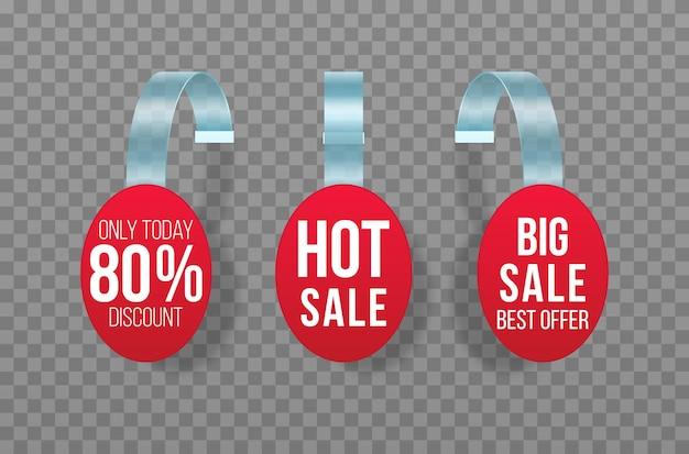 Las ventas rojas etiquetan a los wobblers con el banner de precio plástico de la oferta especial de la etiqueta engomada del descuento del texto