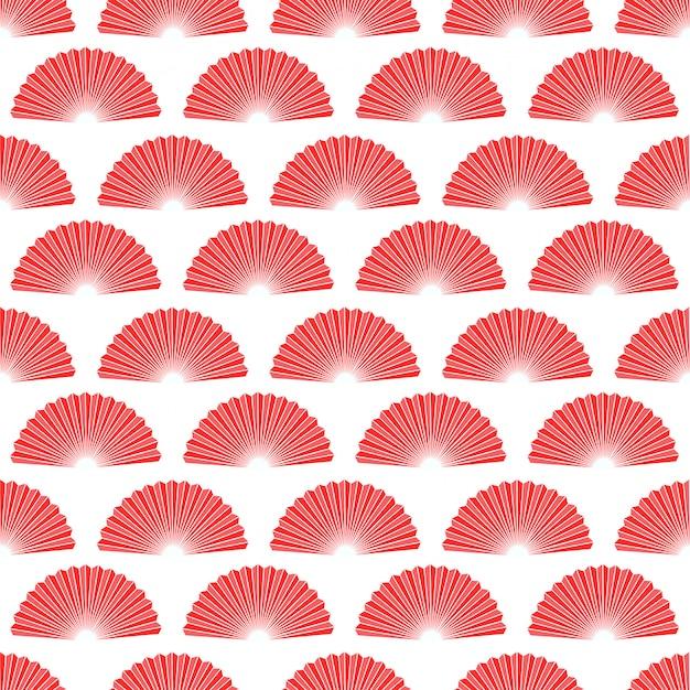 Ventilador de mano roja asiática de patrones sin fisuras.
