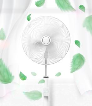 Ventilador de pie moviendo el aire con hojas verdes voladoras.
