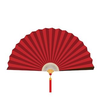 Ventilador plegable chino rojo sobre fondo blanco