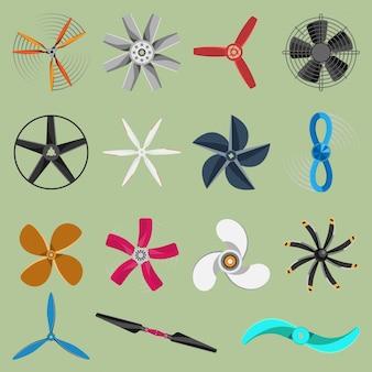 Ventiladores hélices iconos aislados objeto. los iconos del ventilador de la hélice enfrían el símbolo del barco de ventilación del equipo retro del barco del refrigerador. símbolo de ventilador iconos de ventilador de hélice de equipo de viento