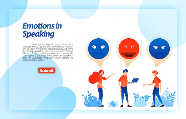 Ventilar y chatear con emojis y emoticonos. las personas se comunican, dialogan, discuten, hablan de problemas y divierten. plantilla web de página de aterrizaje