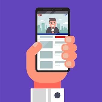 Ver noticias de video en un teléfono móvil.