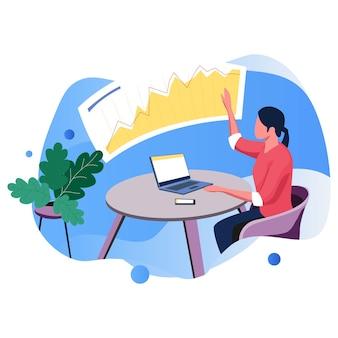 Ver tabla resultados ilustración vector negocio línea plana