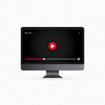 Ver video en concepto de computadora o transmisión de video en línea y botón de pausa