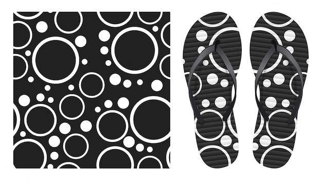 Verano abstracto blanco y negro de patrones sin fisuras con círculos y anillos. diseño de patrones para imprimir en chanclas.