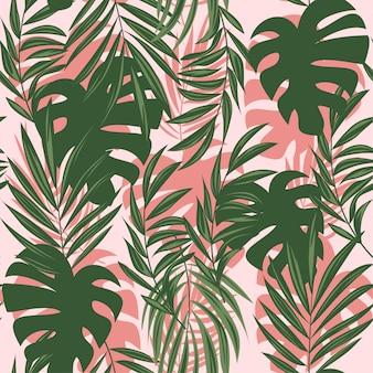 Verano abstracto de patrones sin fisuras con coloridas hojas y plantas tropicales sobre un fondo delicado