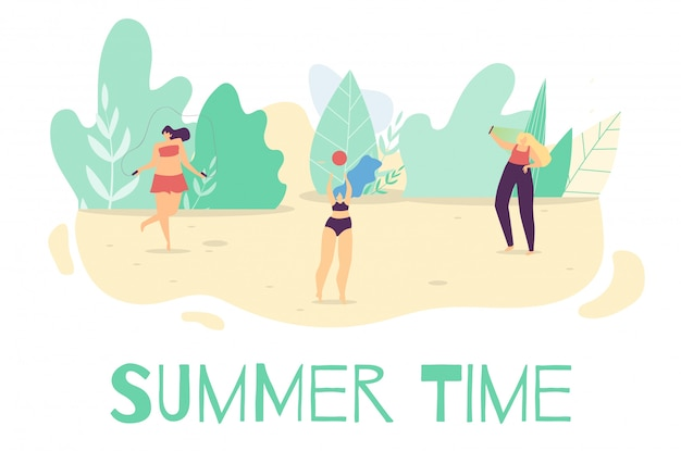Verano activo tiempo al aire libre plana de dibujos animados banner