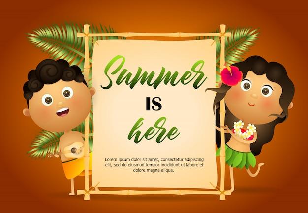 El verano está aquí volante. chica y chico hawaiano