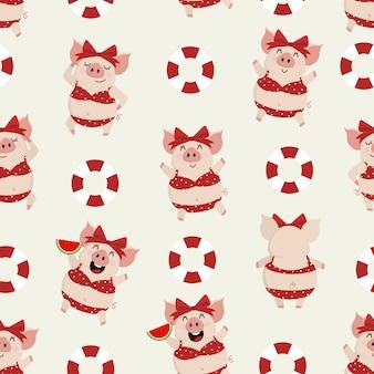 Verano con cerdo cortado en bikini rojo y anillo transparente de goma nadando