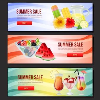 Verano colorido banner de venta web tres con ilustración de vector de refresco