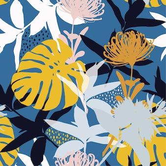 Verano colorido silueta abstracta patrón de flores sin fisuras