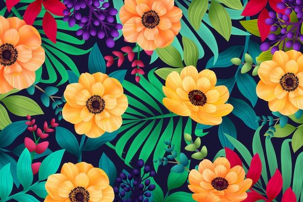 Verano colorido tropical con flores y hojas de palmeras exóticas