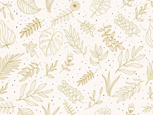 Verano dibujado a mano hojas de patrones sin fisuras