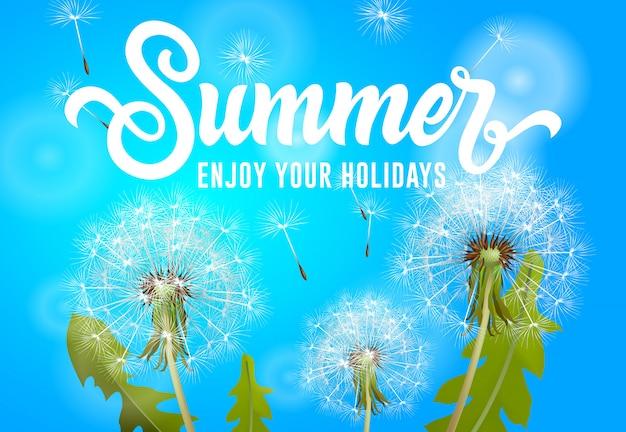 El verano disfruta de tu banner de fiestas con dientes de león que soplan sobre fondo azul cielo