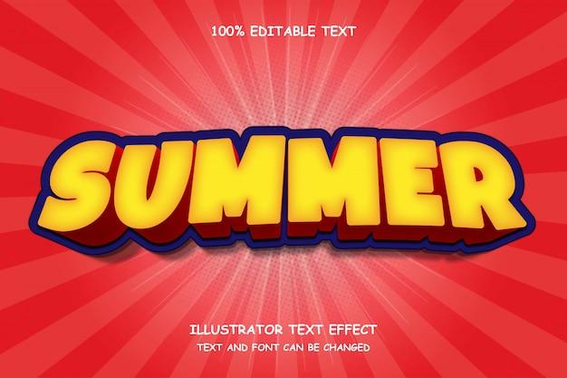 Verano, efecto de texto editable 3d estilo de cómic moderno sombra