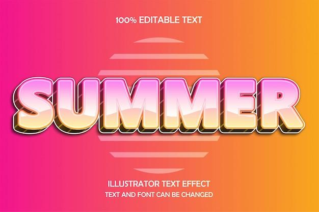 Verano, efecto de texto editable en 3d estilo de efecto de patrón moderno