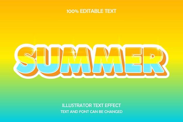 Verano, efecto de texto editable en 3d, relieve moderno, estilo deslumbrante