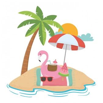 Verano y elementos de vacaciones.