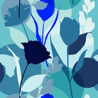 Verano en azul vector de patrones sin fisuras de silueta