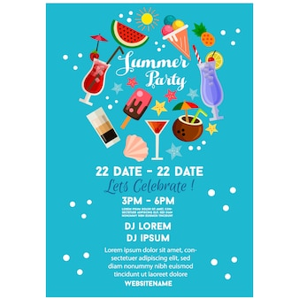Verano fiesta cartel o flyer plantilla azul estilo plano cóctel bebida