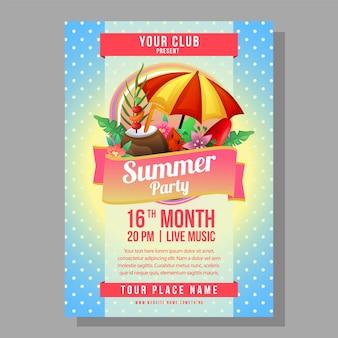 Verano fiesta cartel plantilla vacaciones con ilustración de vector de playa de paraguas