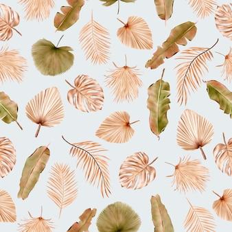 Verano floral y hojas de patrones sin fisuras
