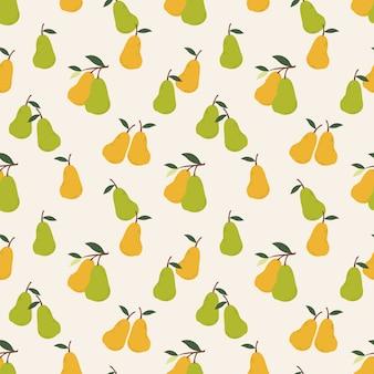 Verano fruta pera de patrones sin fisuras