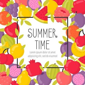 Verano con frutas brillantes y letras. marco de horario de verano