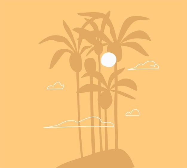 Verano gráfico abstracto, escena de ilustraciones minimalistas, con hermosas palmeras tropicales