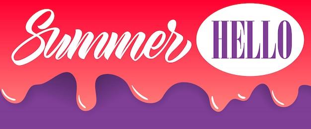 Verano, hola letras sobre goteo de pintura. oferta de verano o publicidad de venta