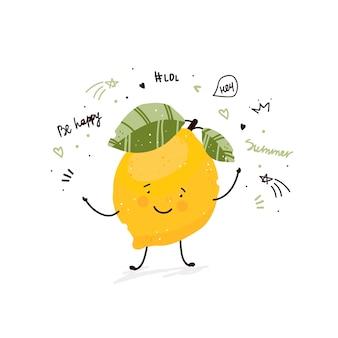 Verano de ilustración de dibujo de doodle de dibujos animados lindo de fruta de limón