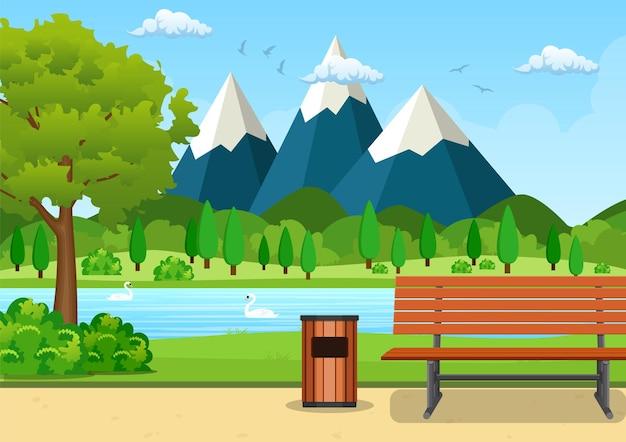 Verano, ilustración de vector de parque de día de primavera