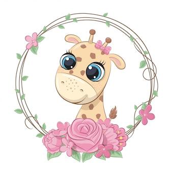 Verano lindo bebé jirafa con corona de flores. ilustración de vector para baby shower, tarjeta de felicitación, invitación de fiesta, impresión de camiseta de ropa de moda