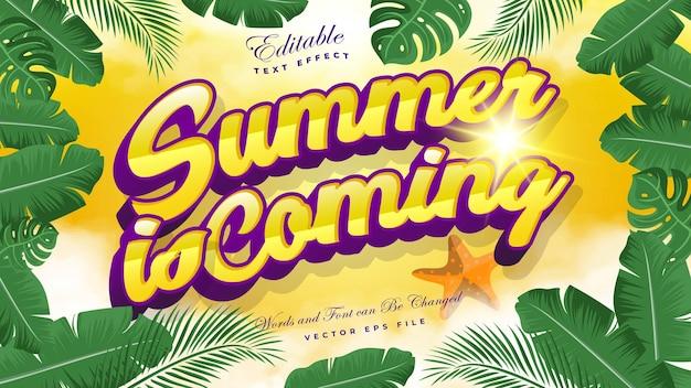 El verano está llegando efecto de texto