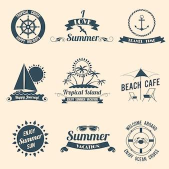 Verano mar emblemas negro