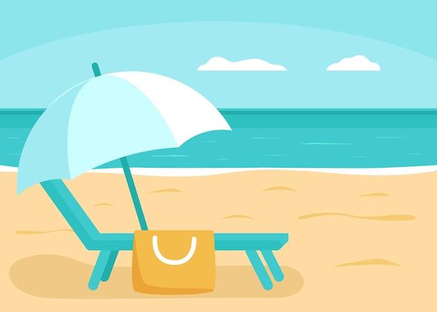 Verano mar y playa con tumbona y sombrilla para vacaciones concepto de vacaciones al aire libre de verano