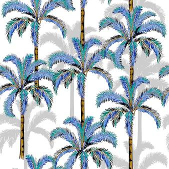 Un verano de palmeras en el fondo blanco del bosque.
